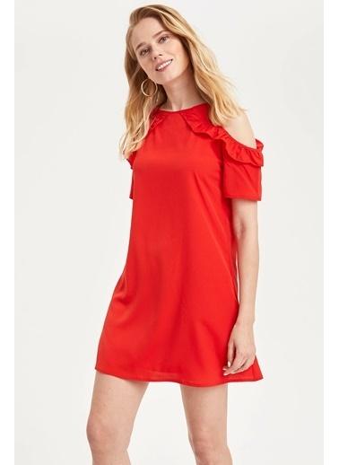 DeFacto Omuz Dekolteli Desenli Elbise Kırmızı